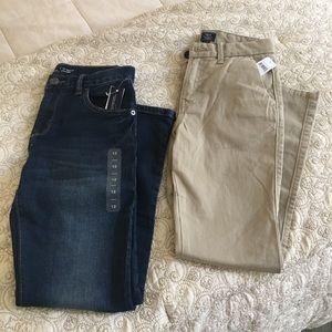 Boys Gap denim and khaki bottoms size 12.